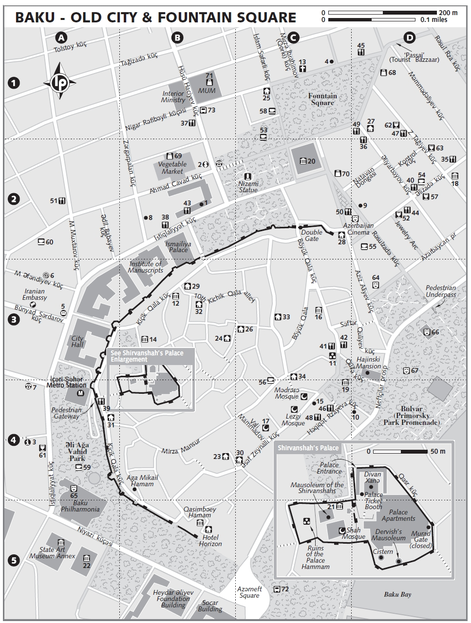 Baku's Old City map