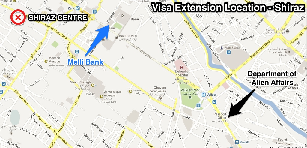 Visa extension office map in Shiraz