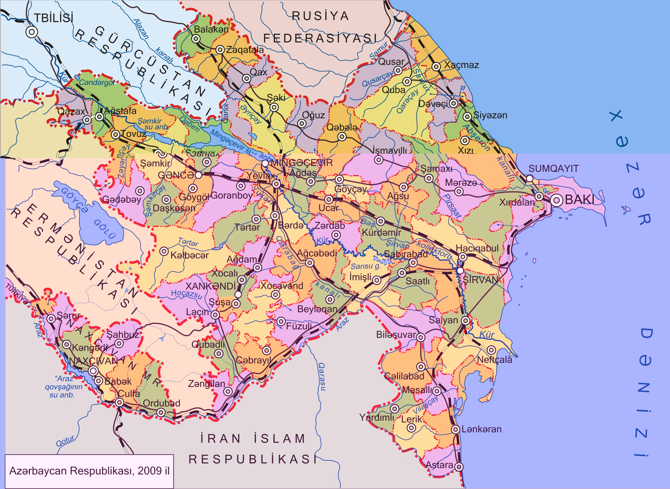 Large map of Azerbaijan