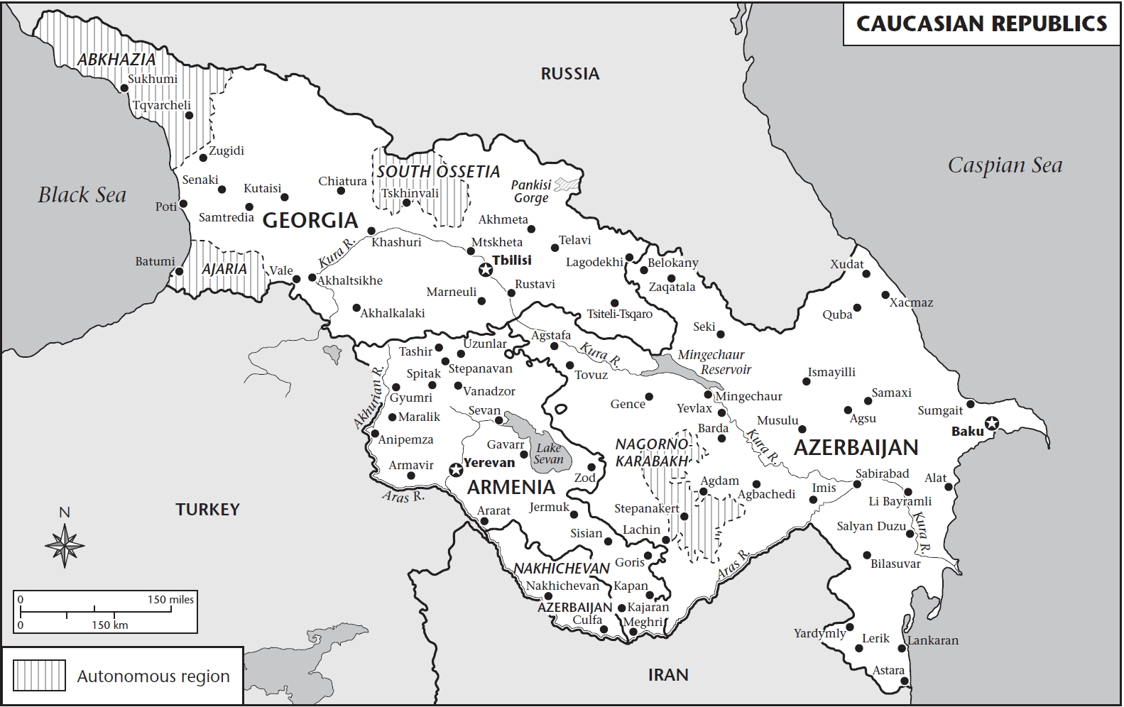 Map of Caucasus Republics