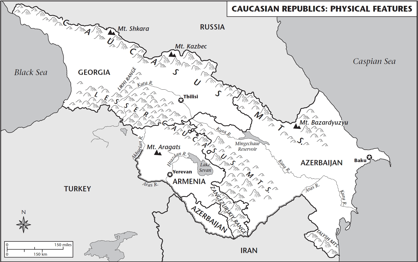 Physical map of Azerbaijan