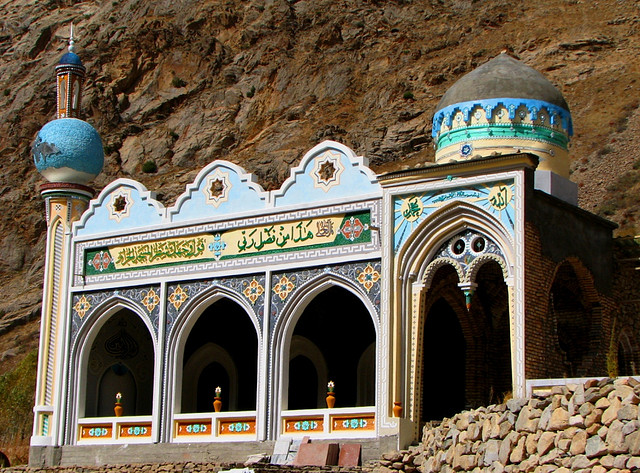 Mosque at Hazrati Burgh. One need to travel over trecherous roads from Dushanbe to reach the resting site of a great Muslim Saint, Hazrati Burgh, high in the mountains of Tajikistan, near the Pamirs. You stunned by the scenery and the amount of work that has gone into creating a site of remembrance for this missionary of hundreds of years ago who wandered thousands of miles and ended up here - seemingly in the middle of nowhere.