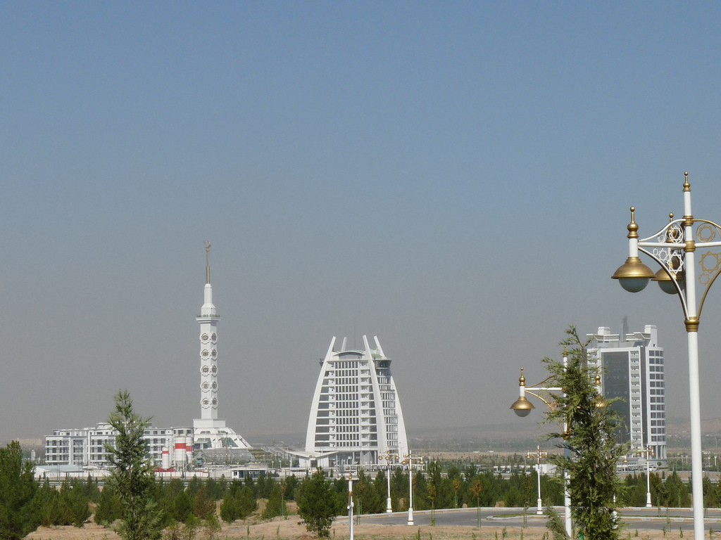 Ashgabat, Constitution Monument on the left