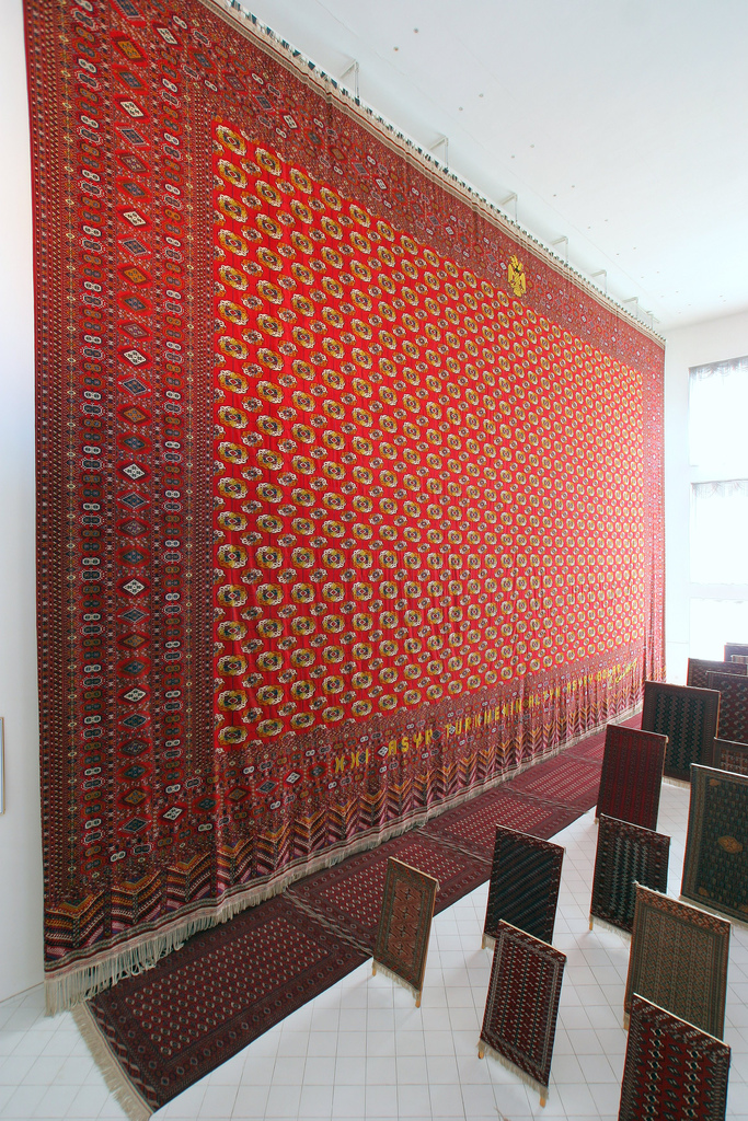 The World's Largest Carpet (per the Guiness Book of World Records), on display in the Carpet Museum, Ashgabat, Turkmenistan